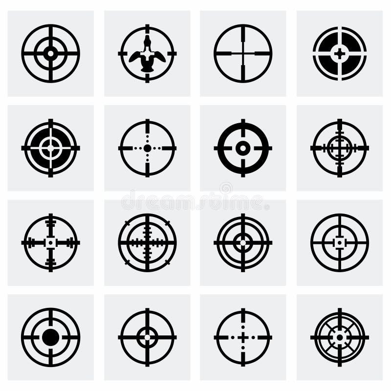 Vector Crosshair icon set. On grey background royalty free illustration