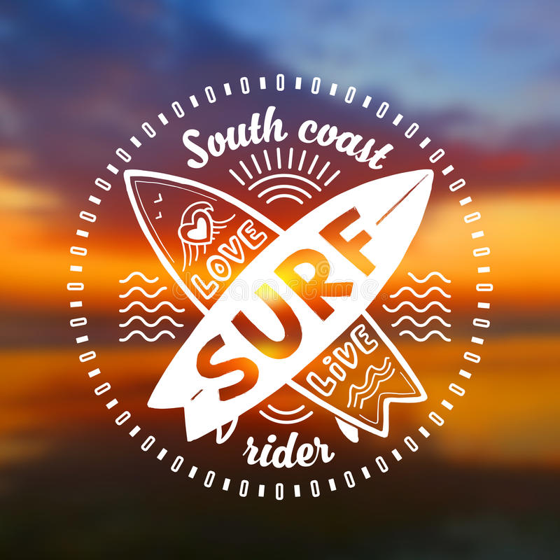 Vector crossing surfing boards stamp with hand drawn sign Love, Live, SURF on blurred sunset beach background stock illustration