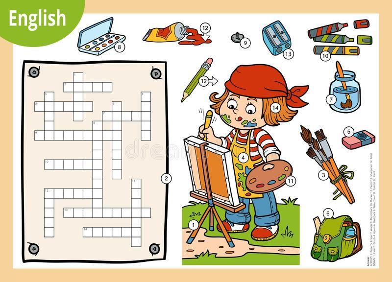 Vector crossword in English, education game for children. Cartoon artist girl and objects for drawing. Vector colorful crossword in English, education game for vector illustration