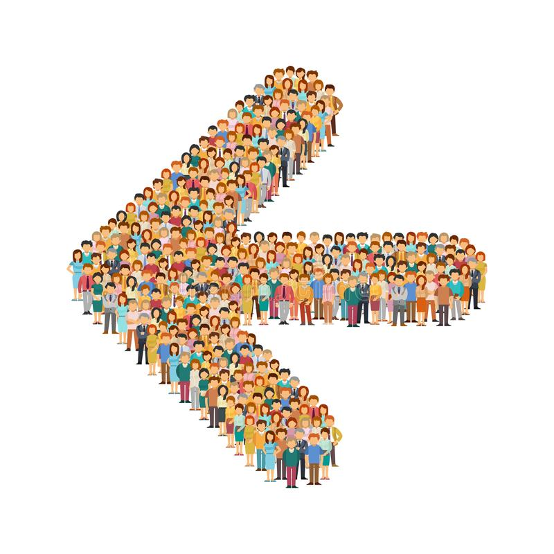 Vector crowd of people standing as shape of left arrow sign.  stock illustration
