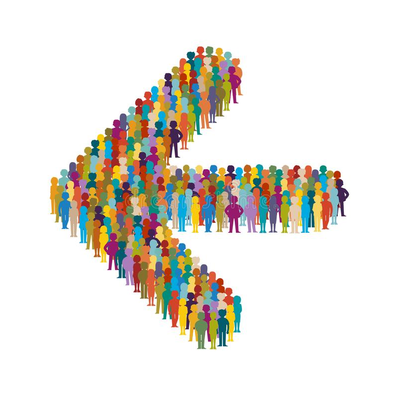 Vector crowd of people standing as shape of left arrow sign.  vector illustration