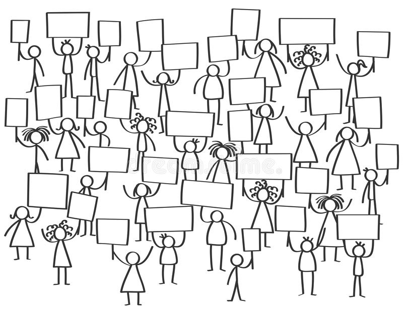 Vector crowd of protesting stick figures, men and women holding up blank boards vector illustration