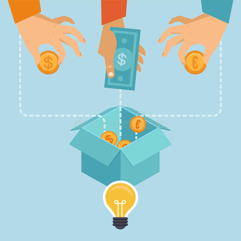 Vector crowdfunding concept in flat style stock illustration