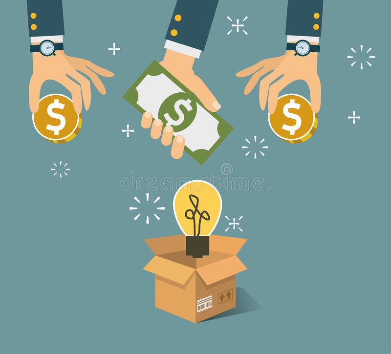 Vector crowdfunding concept in flat style - new business model. Funding project by raising monetary contributions from crowd of people vector illustration