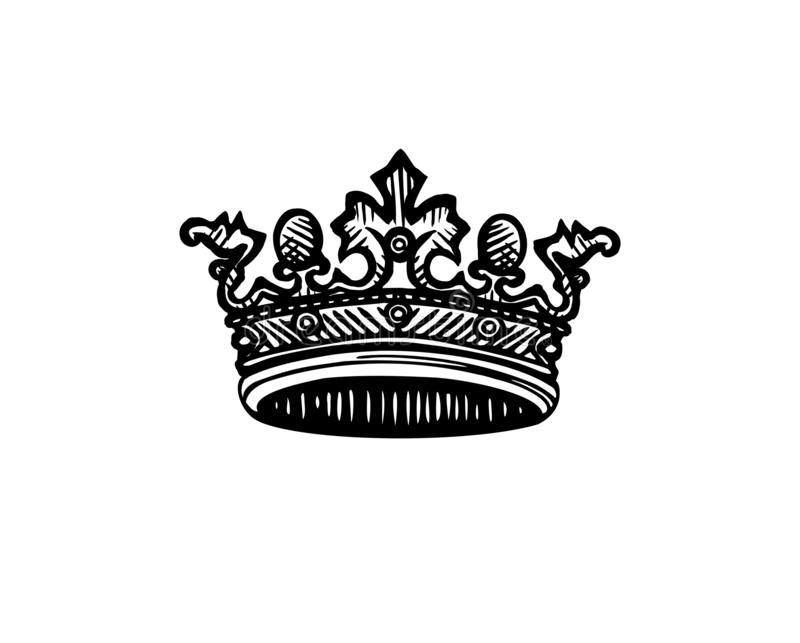 Vector crown. Engraving queen crown. royalty free illustration