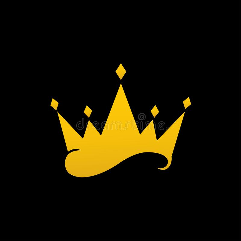 Vector crown isolated on black background royalty free illustration