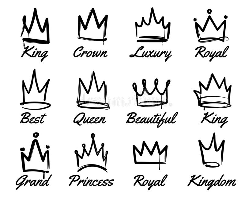 Vector crown logo. Hand drawn graffiti sketch and signs collections. Black brush line isolated on white background stock illustration