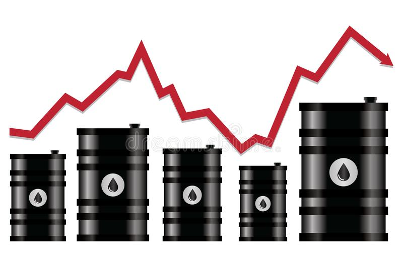 Vector crude oil price financial chart. Red arrow shows oil prices up and down trade trend. energy market flat background vector illustration