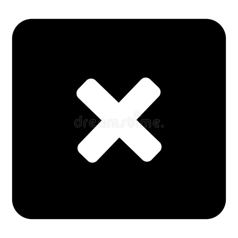 Vector cruzado de la prohibición Ejemplo blanco del vector en el CCB negro stock de ilustración