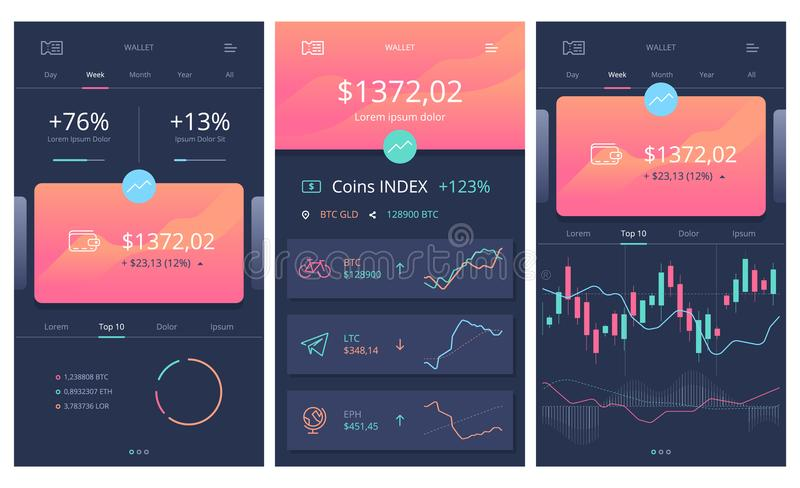 Vector crypto wallet. 100% vector shape. Fully editable in Illustrator. All items are well organized and layered. Zip included . EPS . AI stock illustration