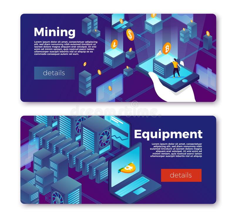 Vector cryptocurrency mining equipment banners set stock illustration