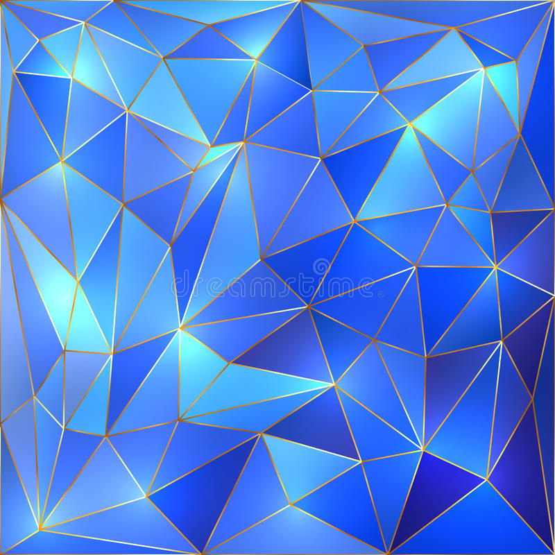 Free Vector Crystal Blue And Gold Lattice Background Royalty Free Stock Image - 39146866