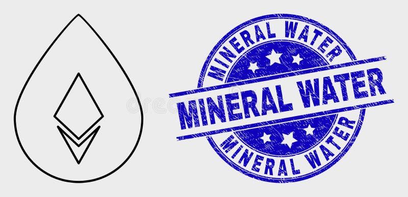 Vector Crystal Drop Icon linear y sello de agua mineral rasguñado ilustración del vector