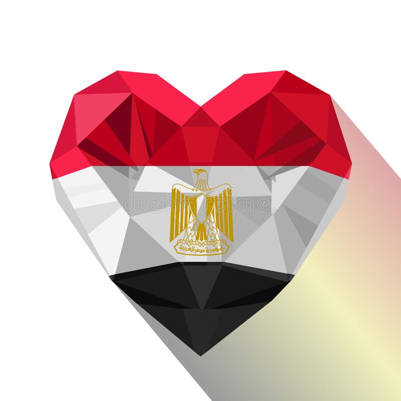 Vector crystal gem Egyptian heart with the flag of the Arab Republic of Egypt. royalty free illustration