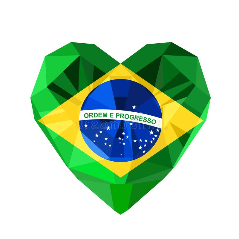 Vector crystal gem jewelry Brazilian heart with the flag vector illustration