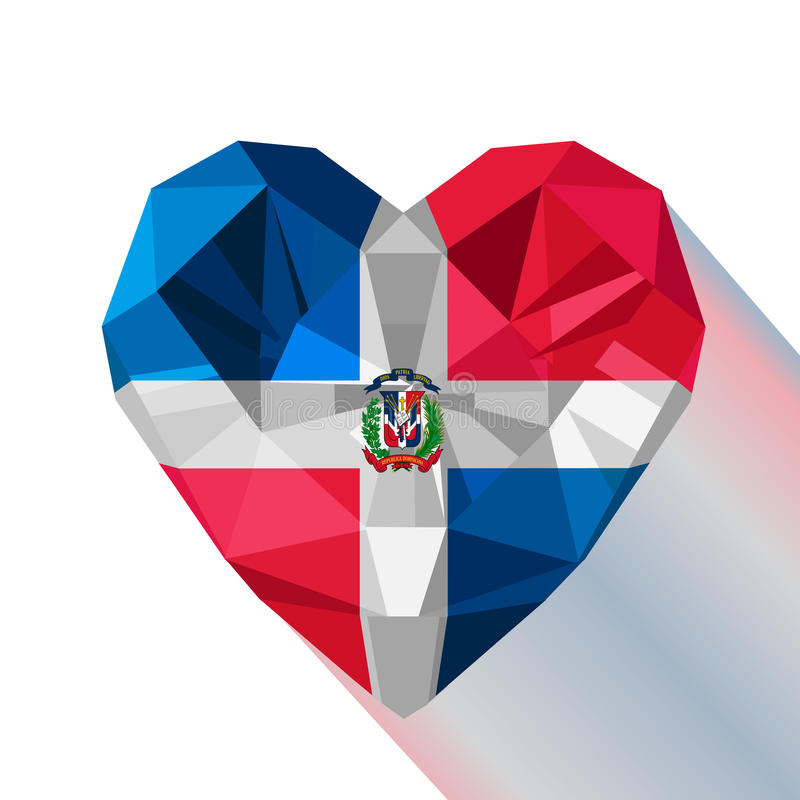 Vector crystal gem jewelry Dominican heart with the flag of The Dominican Republic. stock illustration