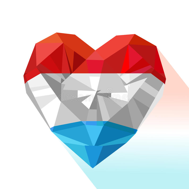 Vector crystal gem jewelry heart of the Grand Duchy of Luxembourg royalty free illustration