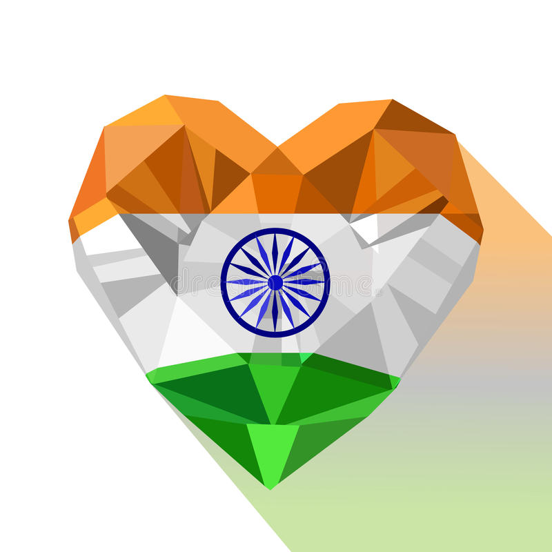 Vector crystal gem jewelry Indian heart with the flag of Republic of India. vector illustration