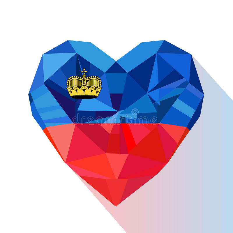 Vector crystal gem jewelry Liechtenstein`s heart flag of Liechtenstein. vector illustration