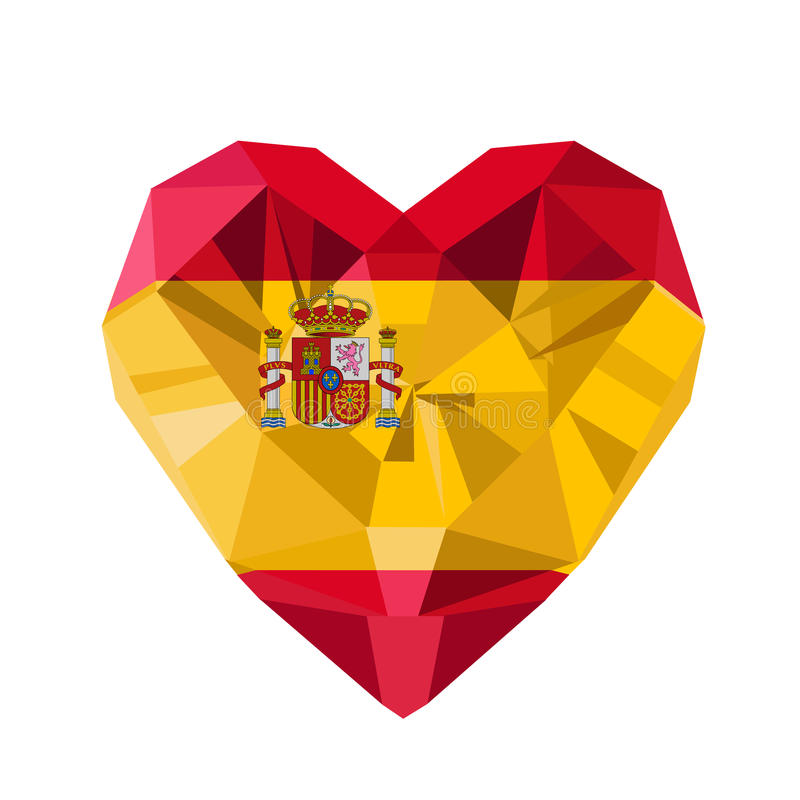 Vector crystal gem jewelry Spanish heart with the flag of the Kingdom of Spain. royalty free illustration