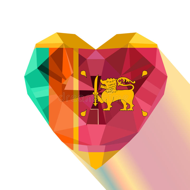 Vector crystal gem jewelry Sri Lankan heart with the flag of the Sri Lanka royalty free illustration
