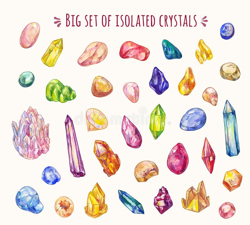 Set of many different crystals in sketch doodle style. Vector hand-drawn icons. Decoration game elements. Vector crystals set isolated. Magic stones, many icons royalty free illustration