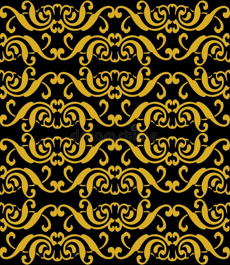 Vector a CTOC sem emenda do redemoinho espiral do ouro do fundo do teste padrão do damasco ilustração stock