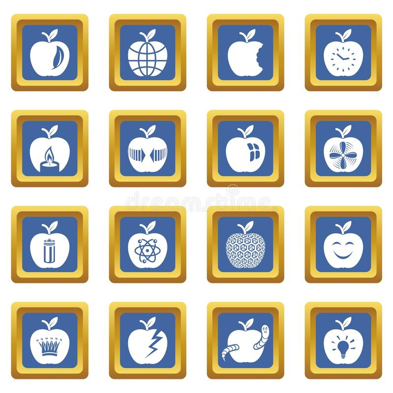 Vector cuadrado azul fijado iconos del logotipo de Apple libre illustration