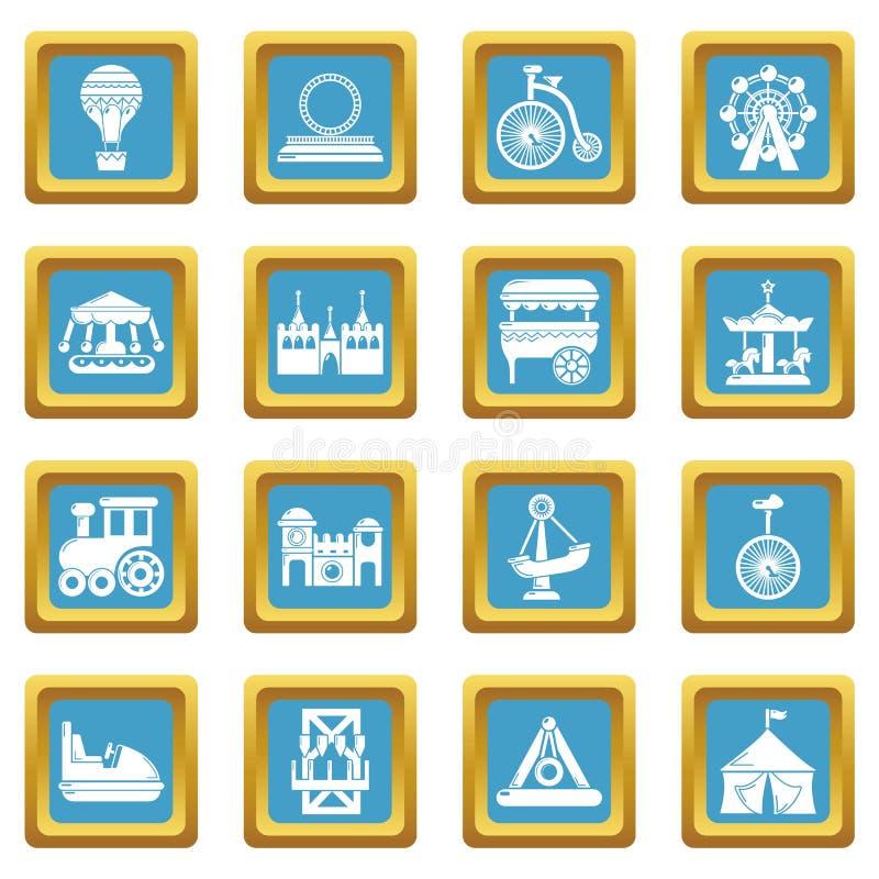 Vector cuadrado de zafirina fijado iconos del parque de atracciones stock de ilustración