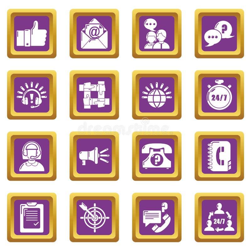 Vector cuadrado púrpura fijado iconos del centro de atención telefónica ilustración del vector