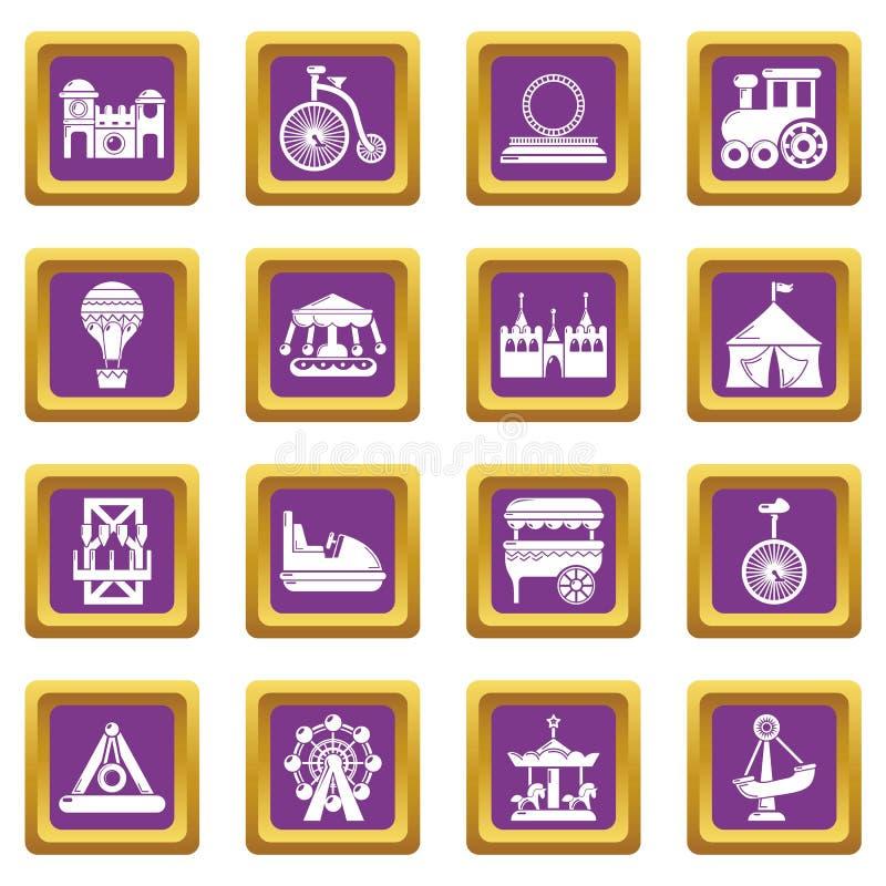 Vector cuadrado púrpura fijado iconos del parque de atracciones ilustración del vector