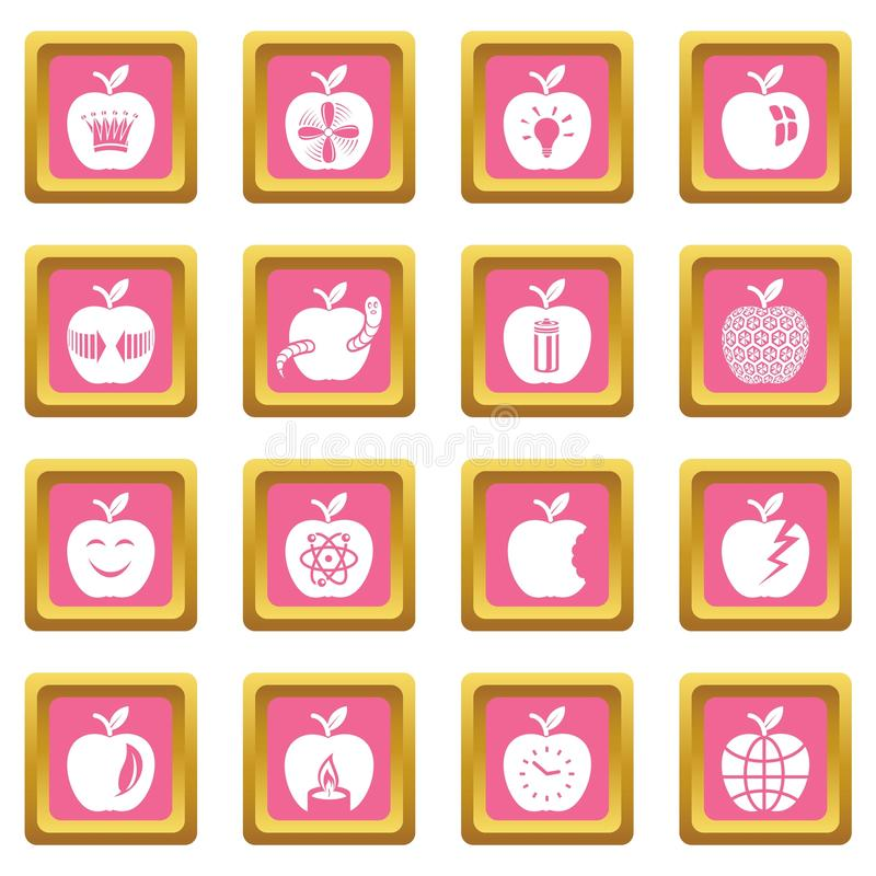 Vector cuadrado rosado fijado iconos del logotipo de Apple libre illustration