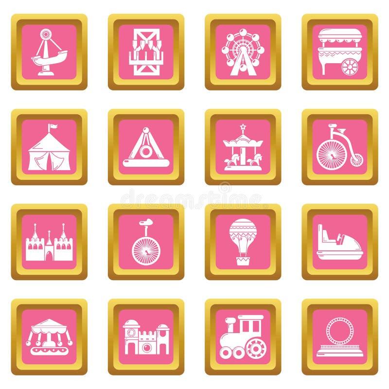 Vector cuadrado rosado fijado iconos del parque de atracciones libre illustration