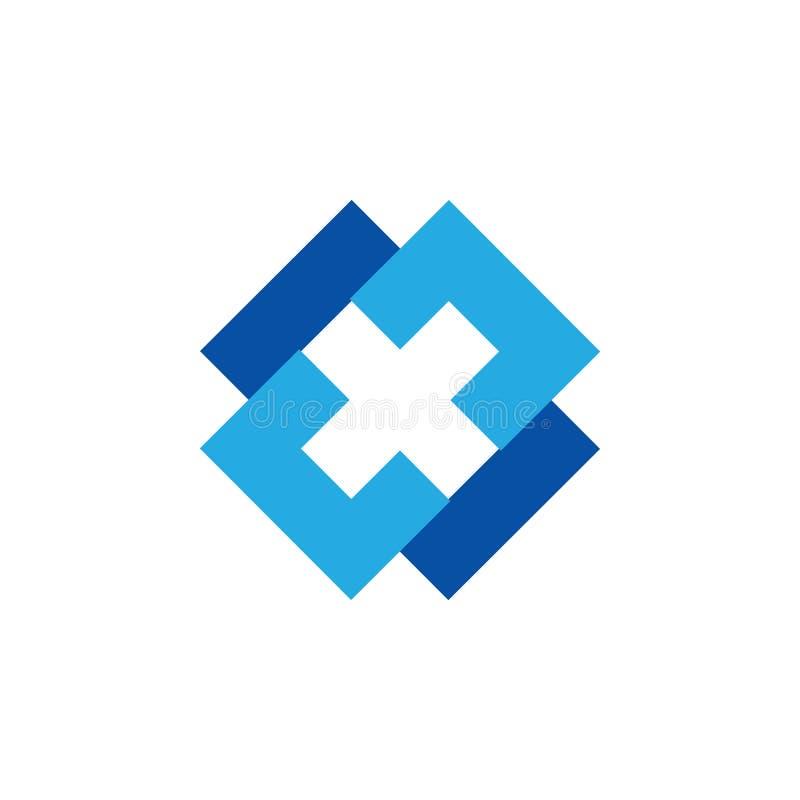 Vector cuadrado simple ligado del logotipo de la cruz x libre illustration