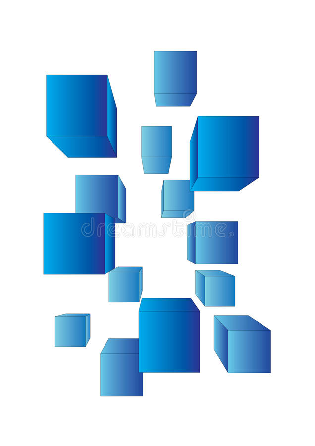 Vector cubes. Vector blue cubes on white stock illustration