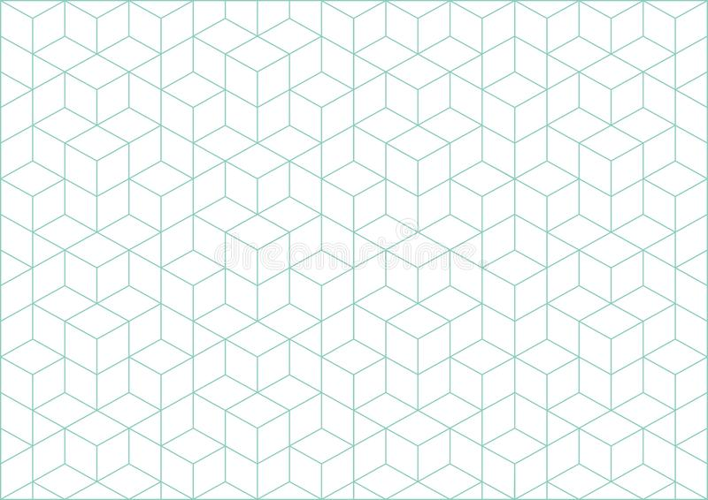 Vector cubes geometric background. Turqouise lines and white backdrop royalty free stock photo