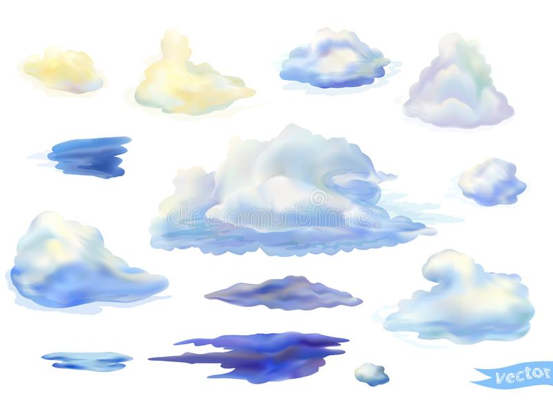 Set of vector isolated clouds in watercolor style. Thunderclouds illustration. Vector cumulus clouds isolated on white. Thunderclouds in watercolor style stock illustration