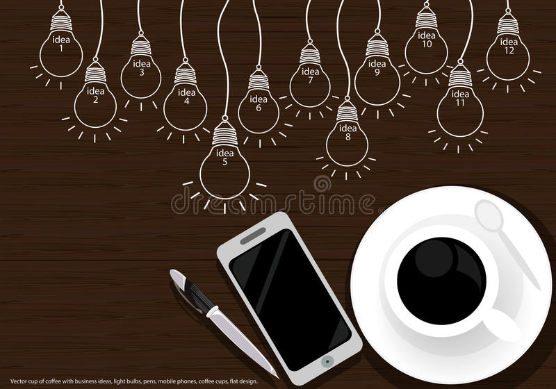 Vector cup of coffee with business ideas, light bulbs, pens, mobile phones, coffee cups, flat design. vector illustration