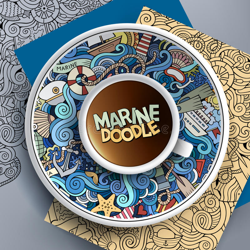 Vector Cup of coffee marine doodle. Vector illustration with a Cup of coffee and hand drawn marine doodles on a saucer, paper and background vector illustration