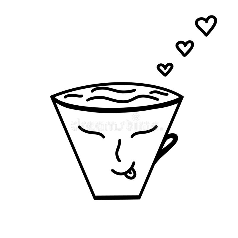 Vector cup of coffee, tea with hearts buddha face. Mono line handdrawn icon Valentines day Love decor for relax wedding restaurant royalty free illustration