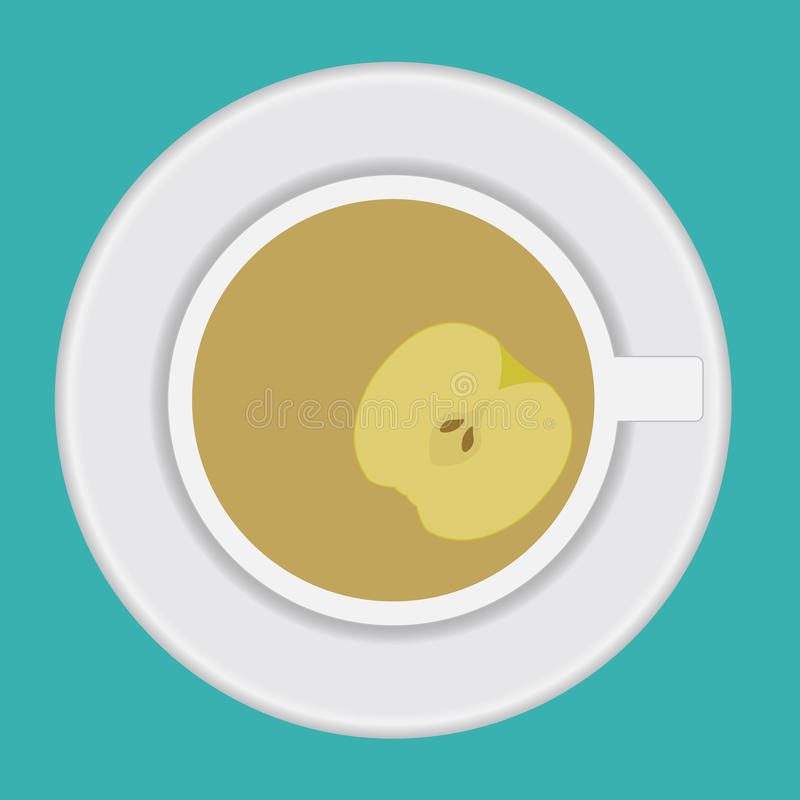 Vector cup of tea with apple stock photo