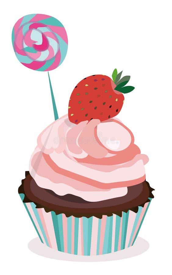 Vector cupcake, muffin, dessert, cake Aardbei en suikergoed roze muffin, cupcake druk, illustratie, affiche vector illustratie