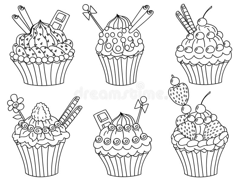 Vector Cupcakes Set, Cupcake Clipart. Vector black and white hand drawn doodle cupcakes set, cupcake clipart, vector birthday, vector illustration vector illustration