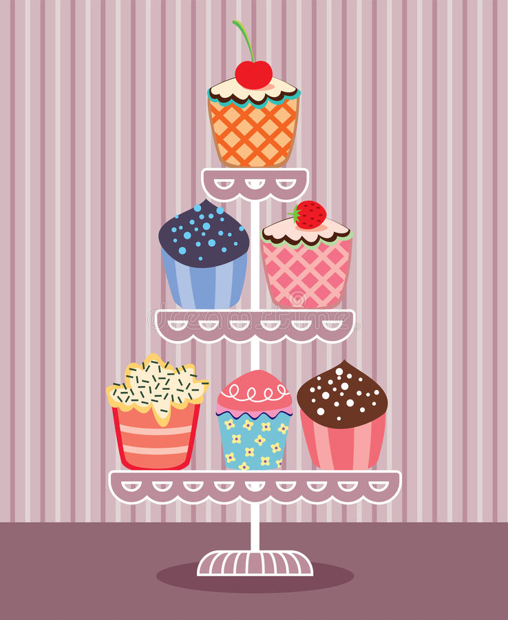 vector cupcakes on a stand vector illustration