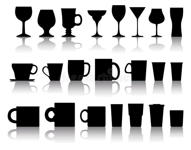 Download Vector Cups, Mugs, Wineglasses Stock Vector - Image: 23003708