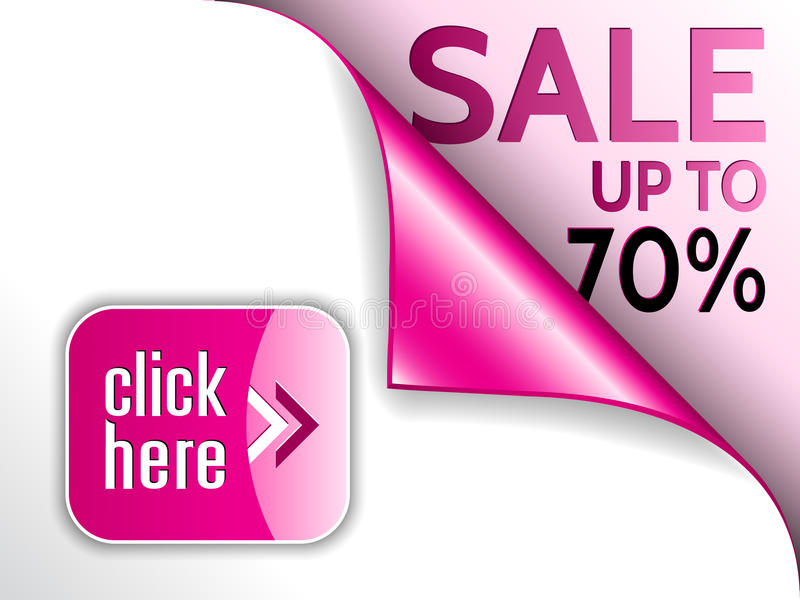 Vector curled corner with sale and click here button. Vector pink curled corner with sale and click here button vector illustration