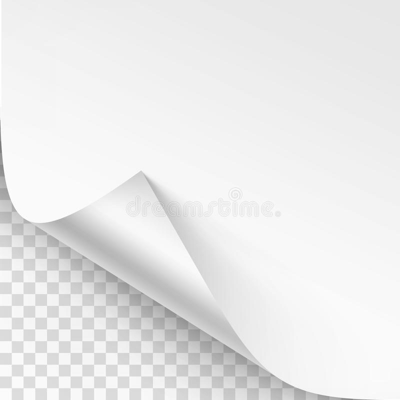 Vector Curled corner of White paper with shadow Mock up Close up Isolated on Transparent Background. Vector Curled corner of White paper with shadow Mock up stock illustration