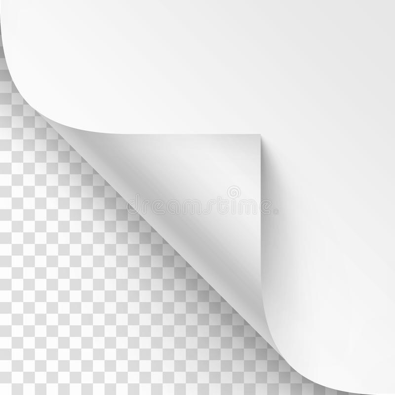 Vector Curled corner of White paper with shadow Mock up Close up Isolated on Transparent Background. Vector Curled corner of White paper with shadow Mock up vector illustration