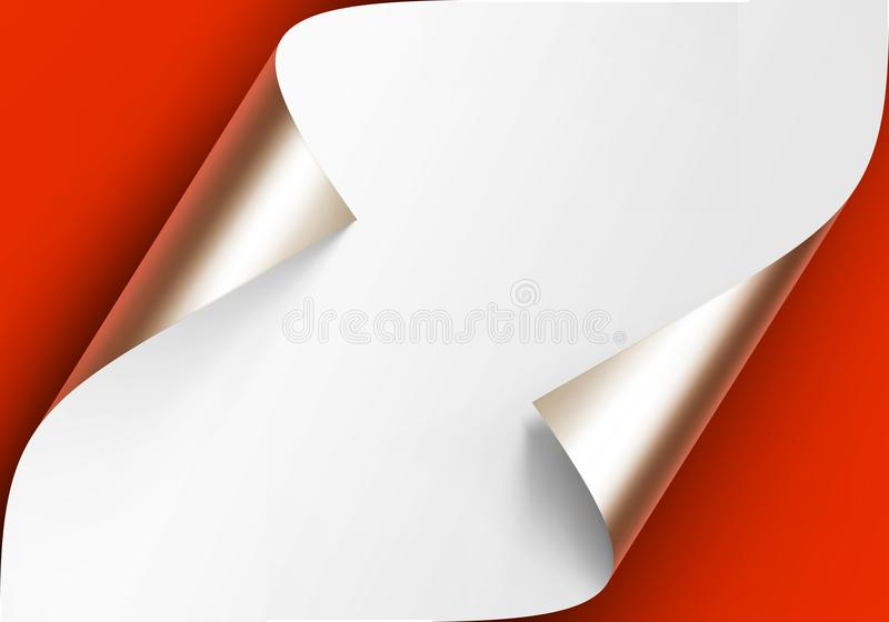 Vector Curled Metalic Platinum Corners of White paper with shadow Mock up Close up Isolated on Red Scarlet Background. Vector Curled Metalic Platinum Corners of vector illustration