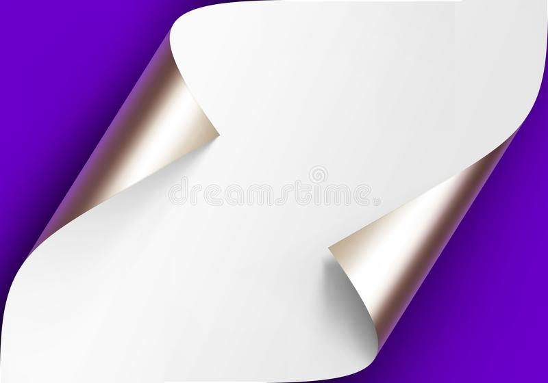Vector Curled Metalic Platinum Corners of White paper with shadow Mock up Close up Isolated on Blue Violet Background. Vector Curled Metalic Platinum Corners of vector illustration